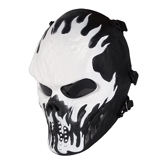 Paintball Mask, Skull Skeleton Full Face Airsoft Mask with PC Gray Lenses Army Fans Supplies M06 Tactical Mask for Halloween Paintball BB Gun CS Game Cosplay and Masquerade Party