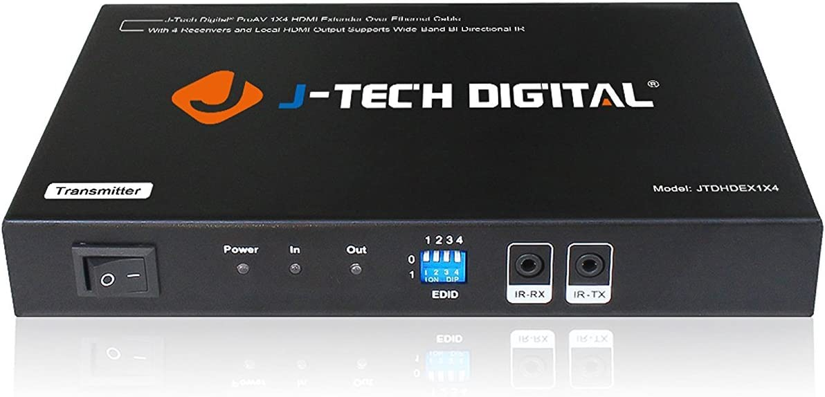 J-Tech Digital 1x4 HDMI Extender Splitter Combo Over Cat5e/Cat6 cable up to 164 feet (50 meters) at 1080P with Local Loop out and Bi-directional IR control (JTDHDEX1x4)