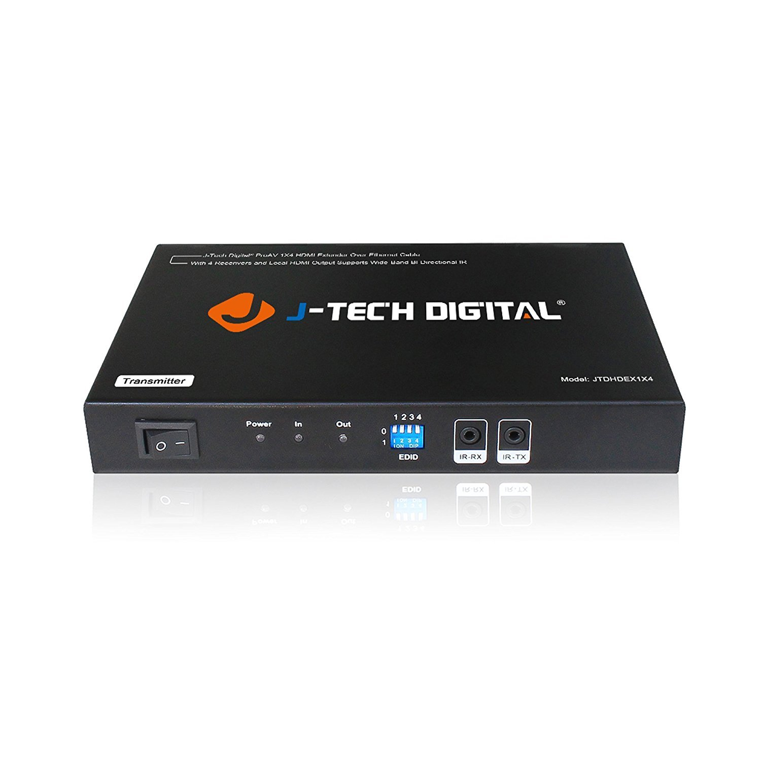 J-Tech Digital 1x4 HDMI Extender Splitter Combo Over Cat5e/Cat6 cable up to 164 feet (50 meters) at 1080P with Local Loop out and Bi-directional IR control (JTDHDEX1x4) by J-Tech Digital