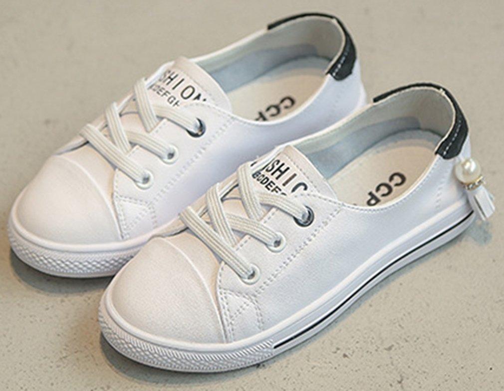 VECJUNIA Girl's Trendy Low Top Round Toe Elastic Casual Flat Shoes Walking (Black, 2.5 M US Little Kid) by VECJUNIA (Image #3)