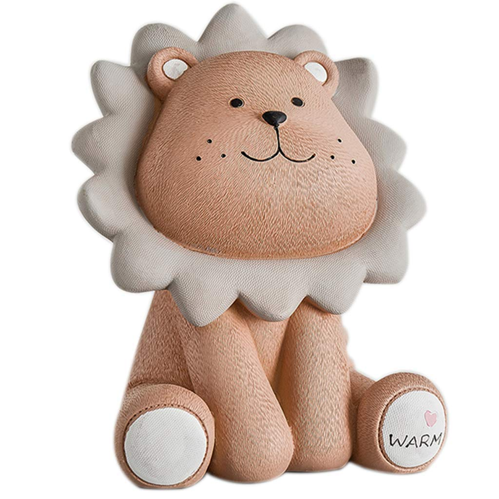 LAL Cartoon Lion Piggy Bank, Retro Piggy Bank, Personality Cute Piggy Bank, Birthday Gift, Suitable for Children to, Send Friends, Home Decoration (Brown by LAL