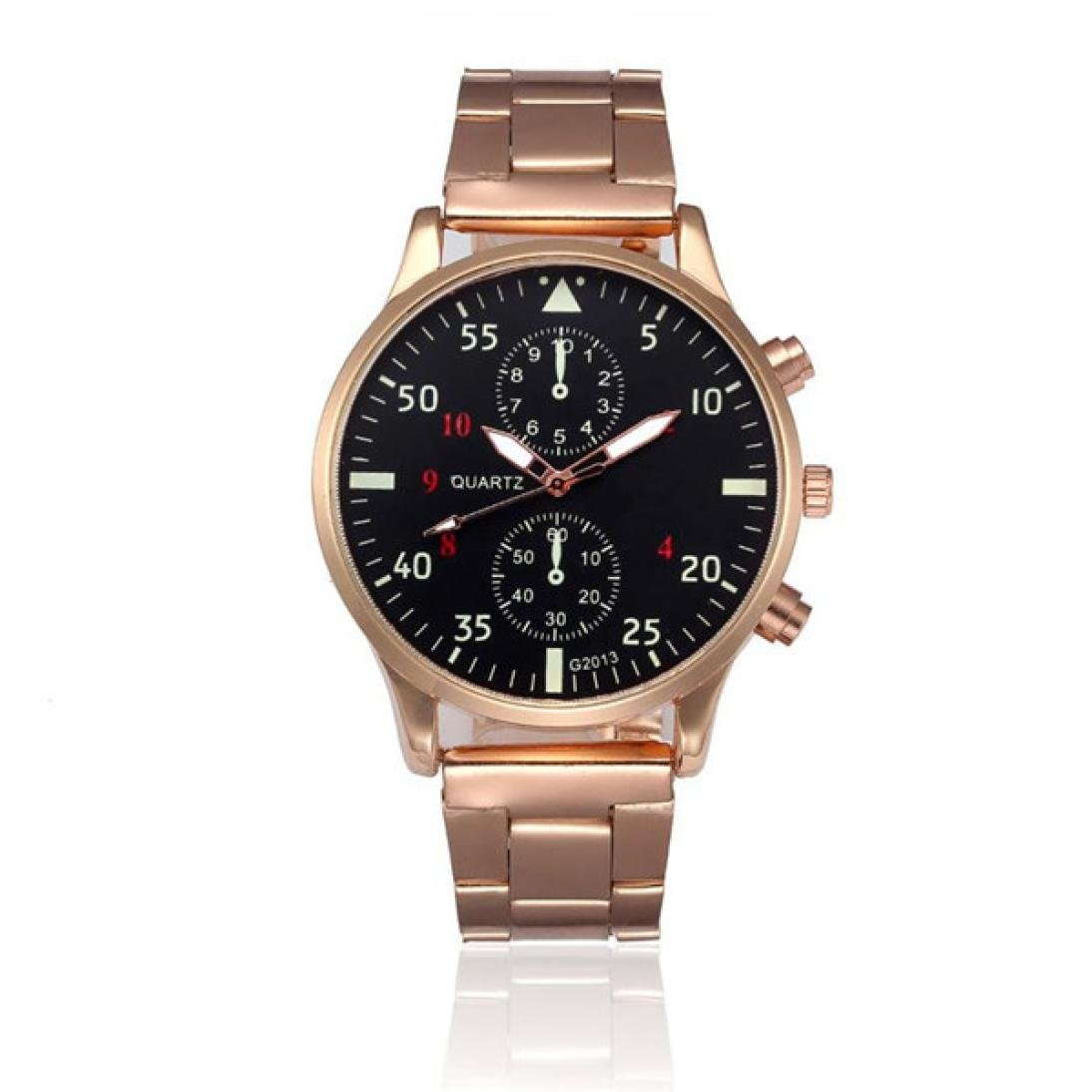 Quaanti Men's Watch Fashion Man Luxury Crystal Stainless Steel Analog Quartz Wrist Watch relogio Masculino Gold/Black/Silver (Gold)