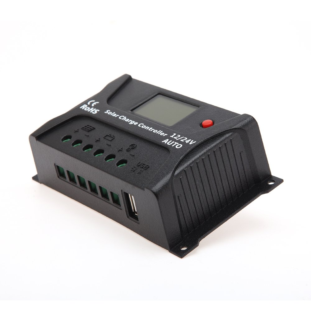 HQST 20 Amp PWM Smart Solar Charge Controller with LCD Display