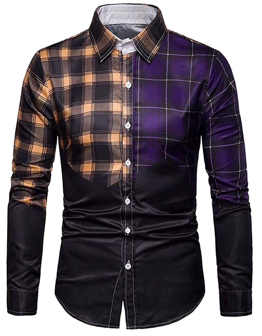 SHOWNO Mens Checkered Long Sleeve Button Up Business Color Block Dress Shirts