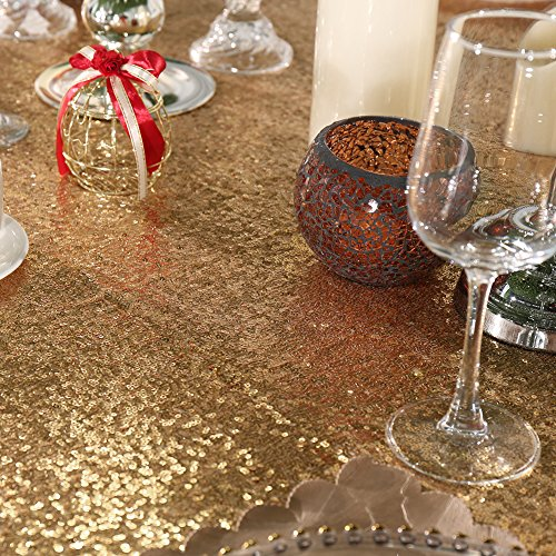 3e Home 60×102'' Rectangle Sequin TableCloth for Party Cake Dessert Table Exhibition Events, Light Gold by 3e Home (Image #3)