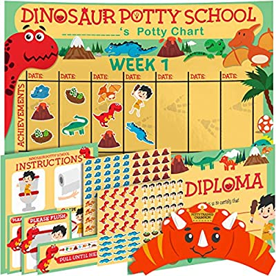 Potty Training Chart for Toddlers - Dinosaur Theme - Sticker Chart - Celebratory Diploma, Crown and Book - 4 Week Potty Chart for Boys and Girls - Potty Training Sticker Chart