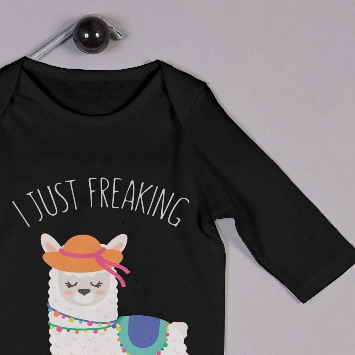 I Just Freaking Love Llamas Okay Printed Baby Bodysuit Long Sleeve Pajamas Black