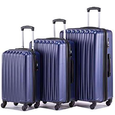 Expandable Luggage Sets Lightweight Hardshell Spinner Luggage with TSA Lock Suitcase Set 3 pieces including 20inch Carry On 24inch 28inch(Navy))