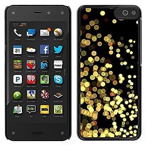 Amazon Fire Phone Único Patrón Plástico Duro Fundas Cover Cubre Hard Case Cover - Yellow Lights Gold Sparkling Black