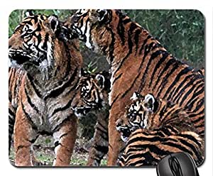 Tiger Family Mouse Pad, Mousepad (Cats Mouse Pad, 10.2 x 8.3 x 0.12 inches)