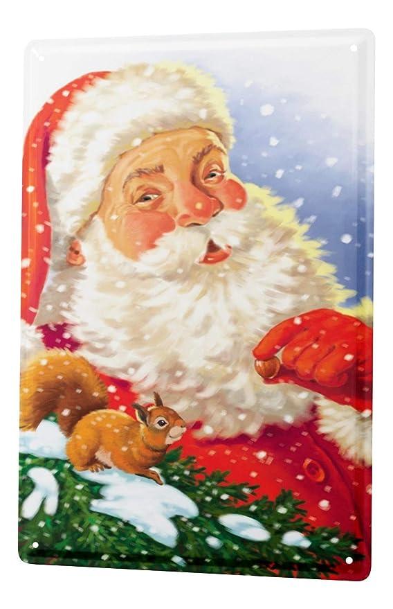 Cartel Letrero de Chapa XXL Santa Claus antiguo mapa del ...