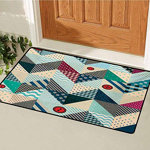 (GUUVOR Chevron Front Door mat Carpet Chevron Patchwork with Vintage Stylized Line and Retro Button Forms Kitsch Artsy Machine Washable Door mat W31.5 x L47.2 Inch Multicolor)
