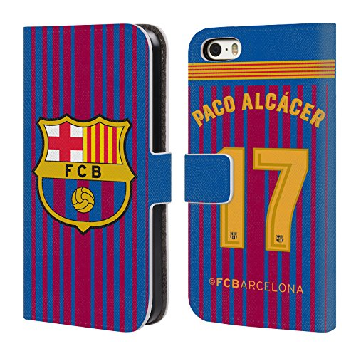 Official FC Barcelona Paco Alcácer 2017/18 Players Home Kit Group 1 Leather Book Wallet Case Cover for iPhone 5 iPhone 5s iPhone SE