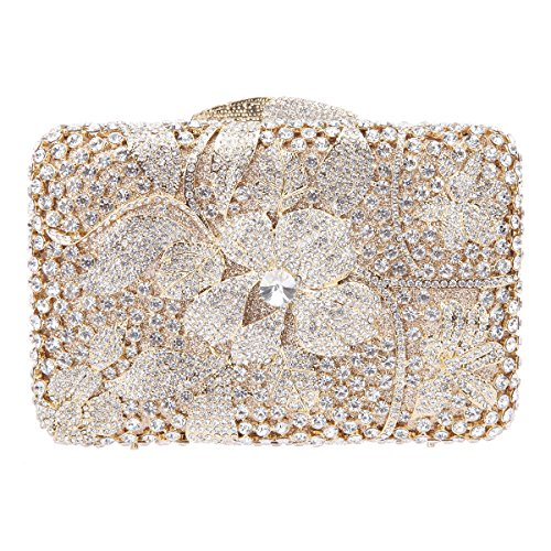 Fawziya Floral Purse And Handbags For Women Clutches With Rhinestones-Gold (Best Lipsticks In India With Price)