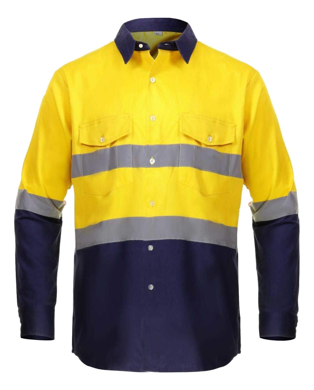 Just In Trend High Visibility Hi Vis Reflective Safety Work Shirts (4X-Large, Yellow/Navy Blue)