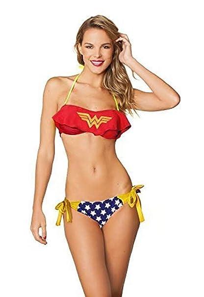 DC Comics Womens Superman Cami Bandeau Bikini and Side Tie Bikini Bottom