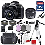 Canon EOS M5 Digital Camera (Black) with Canon EF-M 15-45mm f/3.5-6.3 IS STM Lens (Graphite) +Accessory Bundle