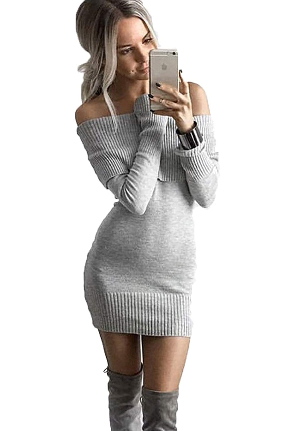 dd10cebc839 ALAIX Womens Sexy Off Shoulder Long Sleeve Pencil Bodycon Knitted Sweater  Mini Dress Pullover