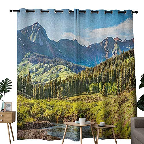 NUOMANAN Blackout Curtains Landscape,Mountain Vista Thick Forest Trees Mountain Flowing River Grass Cloudy Sky Valley, Multicolor,for Bedroom,Nursery,Living Room 52