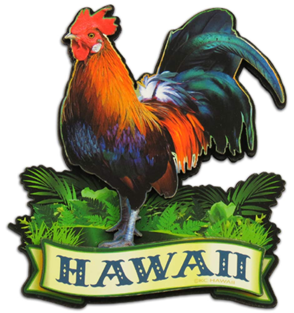 Hawaii Chicken Hawaiian Wood Magnet
