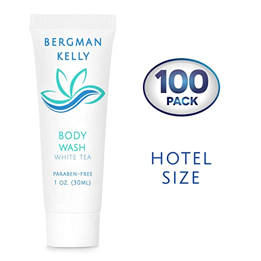 BERGMAN KELLY Travel Size Body Wash (1 Fl Oz, 100 PK, White Tea), Delight Your Guests with a Revitalizing and Refreshing Hotel Body Wash, Quality Mini and Small Size Guest Hotel Toiletries in Bulk