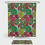 Hot Pink and Lime Green Shower Curtain Floral Shower Curtain And Floor Mat Combination Set Tropical Blossom Caribbean in Exotic Tones Hyacinth Hippie Print For decoration and daily use Jade and Lime Green Hot Pink