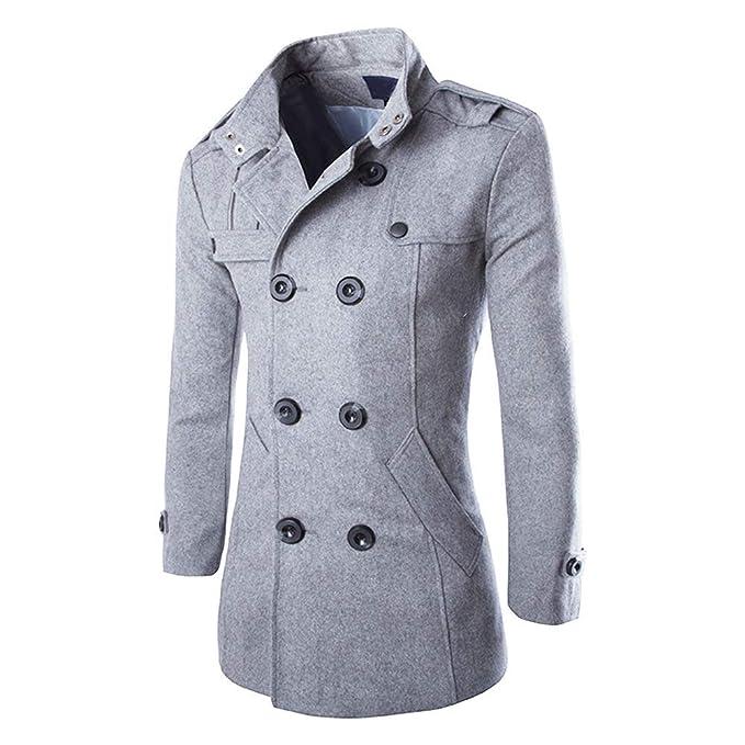 Hombres Oto?o Invierno Doble Fila Botš®n Abrigo Top Blusa Chaqueta Hombres Jacket Outerwear Tops Blazer: Amazon.es: Ropa y accesorios