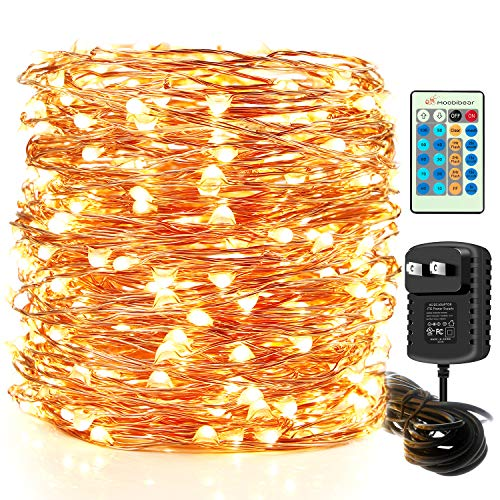 Moobibear LED Decorative Fairy String Lights 99ft 300 LEDs Dimmable Outdoor/Indoor Starry String Lights, UL Listed Warm White Copper Lights with Remote Control for Garden Room Patio Party Christmas (Lights Decorating With Backyard)