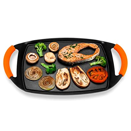 Novohogar Plancha Cocina de Aluminio Fundido para Vitrocerámica e Inducción con Mangos de Silicona Naranja. Plancha de Asar, Grill y Parrilla con ...