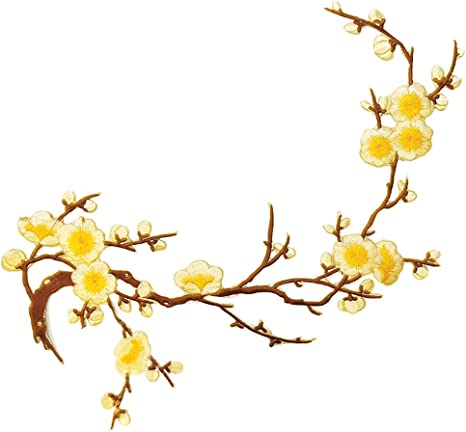 Amazon Com Yellow Flower Branches Embroidered Iron On Patch