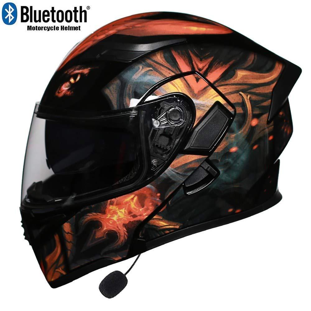 MTTKTTBD Bluetooth Motorradhelm Klapphelme mit LED-R/ücklicht,Erwachsene Integralhelm Motorrad mit Anti-Fog Doppelvisier,Motocrosshelme mit Eingebautes Mikrofon,ECE Zertifiziert