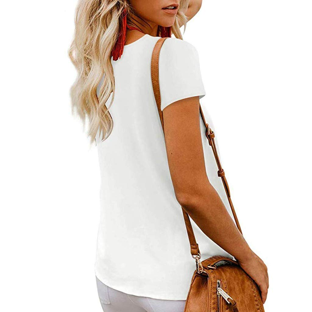 DAYPLAY Womens Tops Plus Size Summer 2019 Button Down V Neck Short Sleeve Tee T Shirt Loose Blouses for Ladies Clothes Sale
