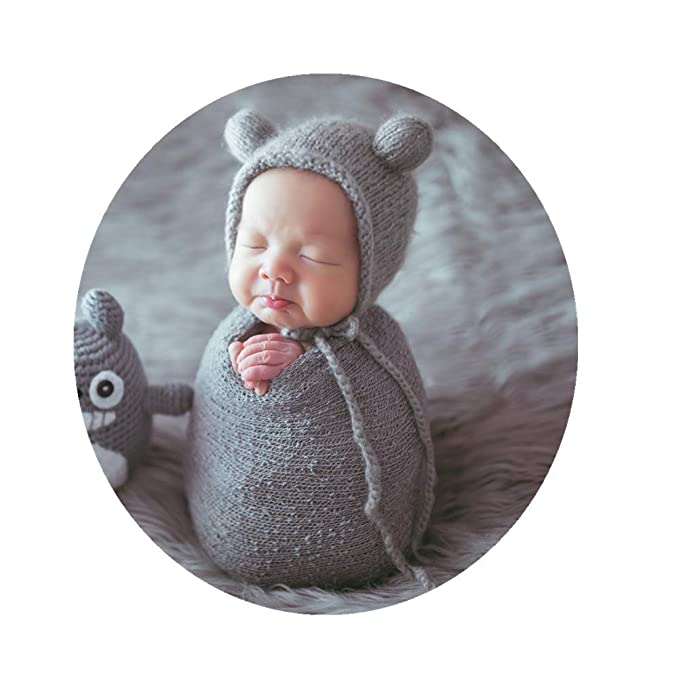6f339c59b01c5 Newborn Baby Photography Props Outfits Hat Long Ripple Wrap Set for Boys  Girls Photography Grey
