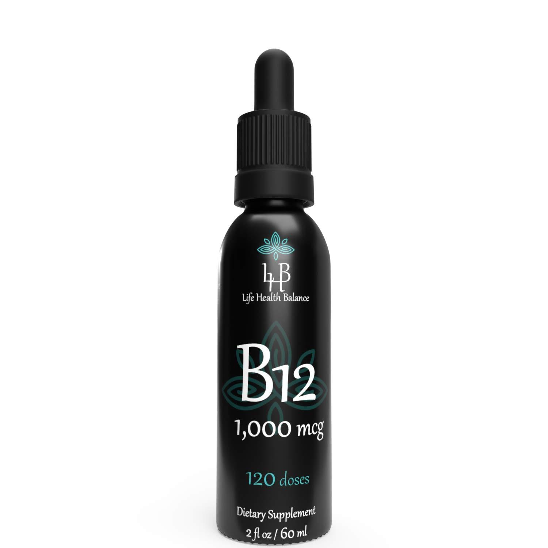 B12 1,000 mcg Liquid Vitamin B12 Drops(Methylcobalamin) Supplement Non GMO Vegetarian Safe Rapid Absorption,Aid B12 Deficiency Natural Raspberry Flavor 2oz