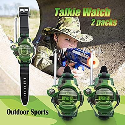 XHAIZ Kids Walkie Talkies, Long Range Walky-Talky Watch with Flashlight for Kids, Support 4 Pack or More Using Together, Cool Outdoor Gifts for Boys and Girls 2-Pack: Toys & Games