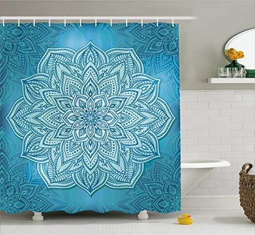 Mandala Decor Shower Curtain by Ambesonne, Vibrant Oriental Indian Lace Lotus Plant Motivational Zen Spiritual Decor , Fabric Bathroom Decor Set with Hooks, 75 Inches Long, Teal Blue