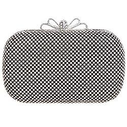 Fawziya Bow Purse For Women Box Rhinestone Crystal Clutch Evening Bags-Black