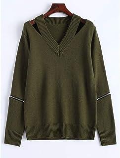 HUAIX Home Pullover con Cerniera Scollo a V Top a Maniche Lunghe Tinta Unita Pullover Casual Autunno Moda Donna Verde (Color : XL)
