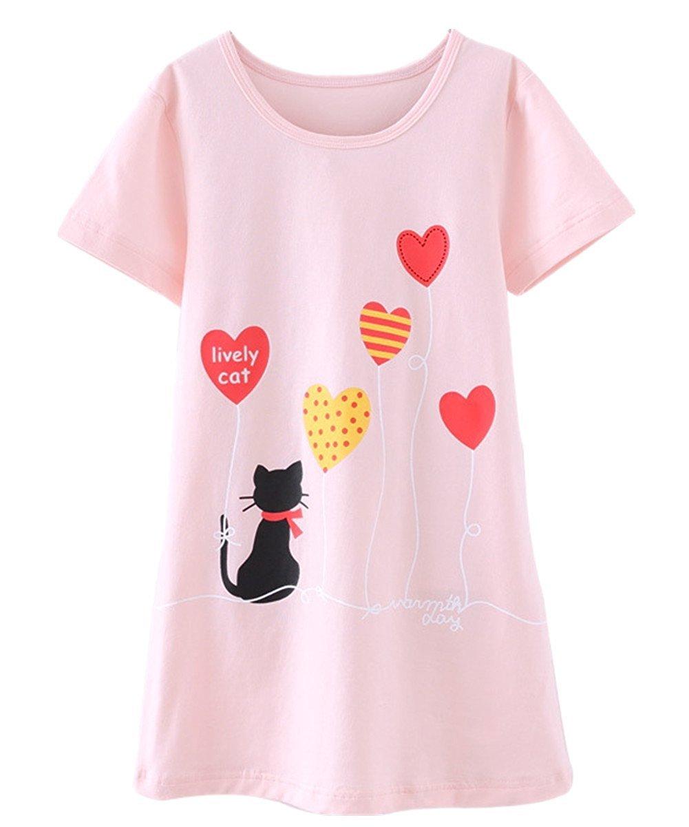 Abalaco Girls Kids Cotton Summer Cartoon Nightgown Sleepwear Dress Pretty Home Dress 3-12T (9-10 Years, Pink heart)
