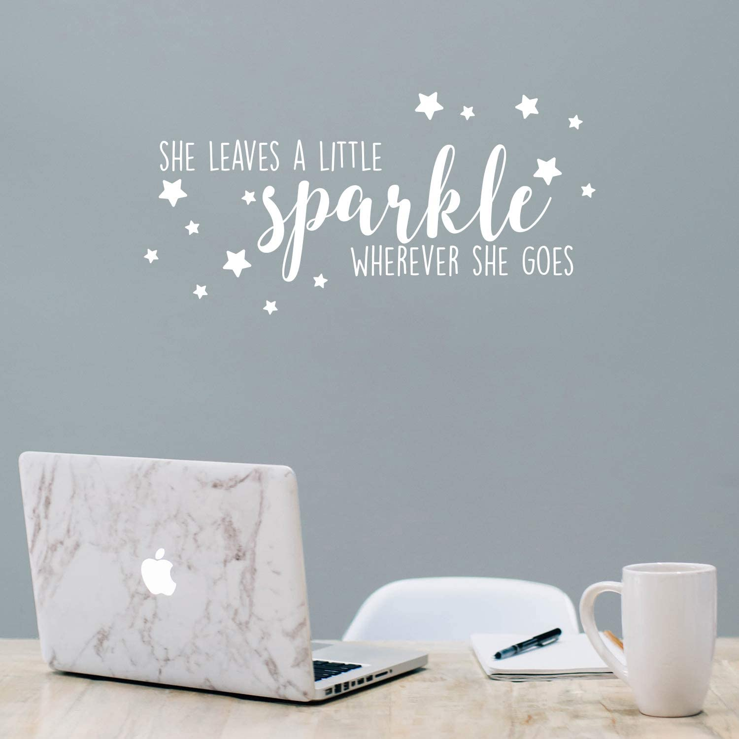 """Vinyl Wall Art Decal - She Leaves A Little Sparkle Wherever She Goes - 11"""" x 23"""" - Trendy Inspirational Cute Positive Girly Quote Sticker for Girls Room Closet Playroom Living Room Office Yoga Decor"""