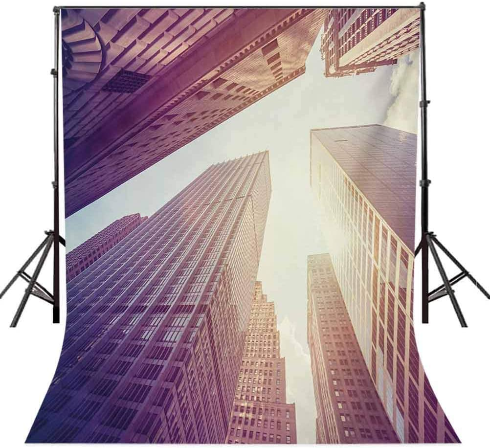 City 6x8 FT Photo Backdrops,High Rise Buildings in Manhattan Vintage Stylized Photo Business Finance Background for Photography Kids Adult Photo Booth Video Shoot Vinyl Studio Props