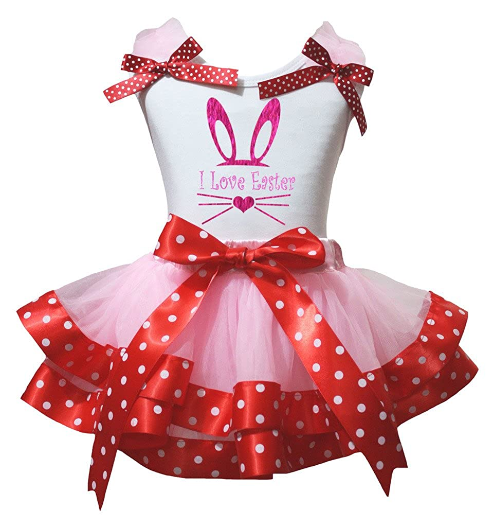 Petitebella Love Easter White Shirt Dots Red Ribbon Pink Petal Skirt Set Nb-8y