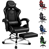 ALFORDSON Gaming Chair Racing Chair Executive Sport Office Chair with Footrest PU Leather Armrest Headrest Home Chair (Volger Black)