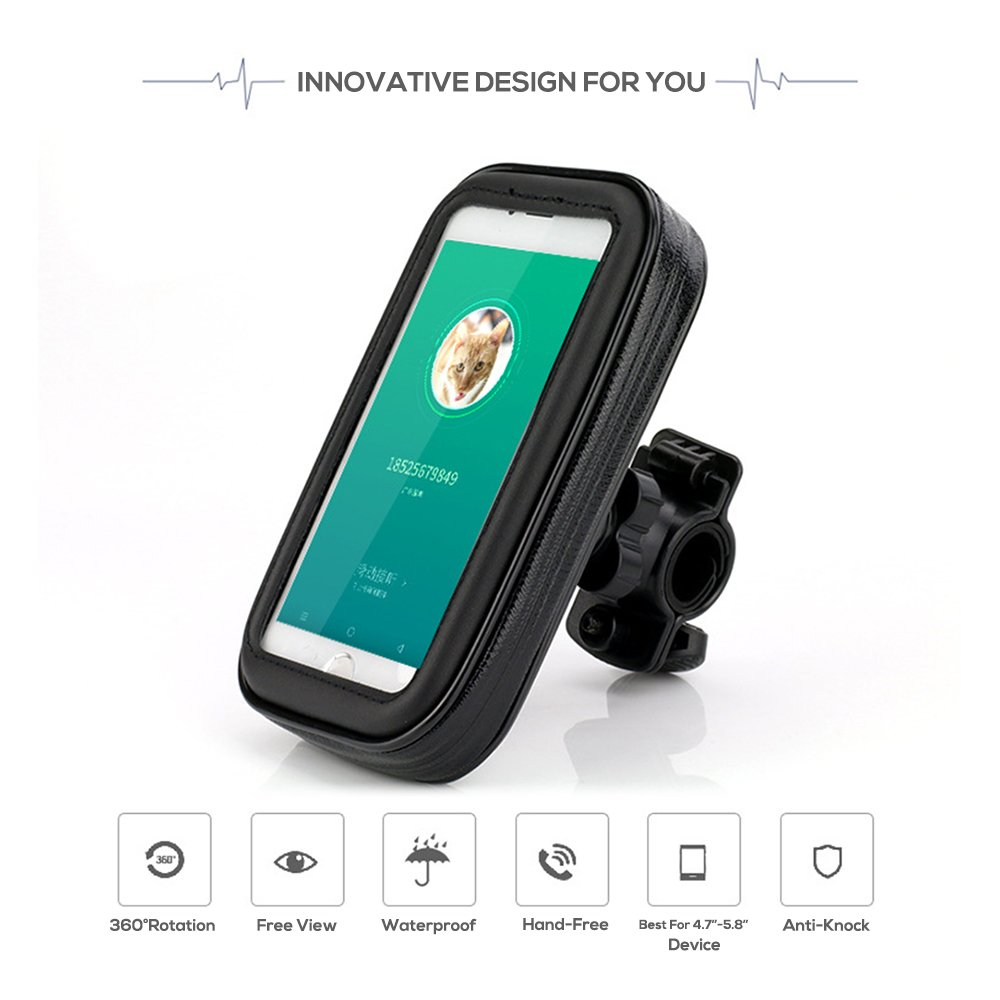Waterproof Bike Mount Holder For Cellphone,Motorcycle&Bike Waterproof Bag Cycling Phone Holder for iPhone X/8/7/6/6Plus,Samsung Note7,Galaxy S9/S8 and More 4.7 to 6.0 IN Device. (Black,Large)