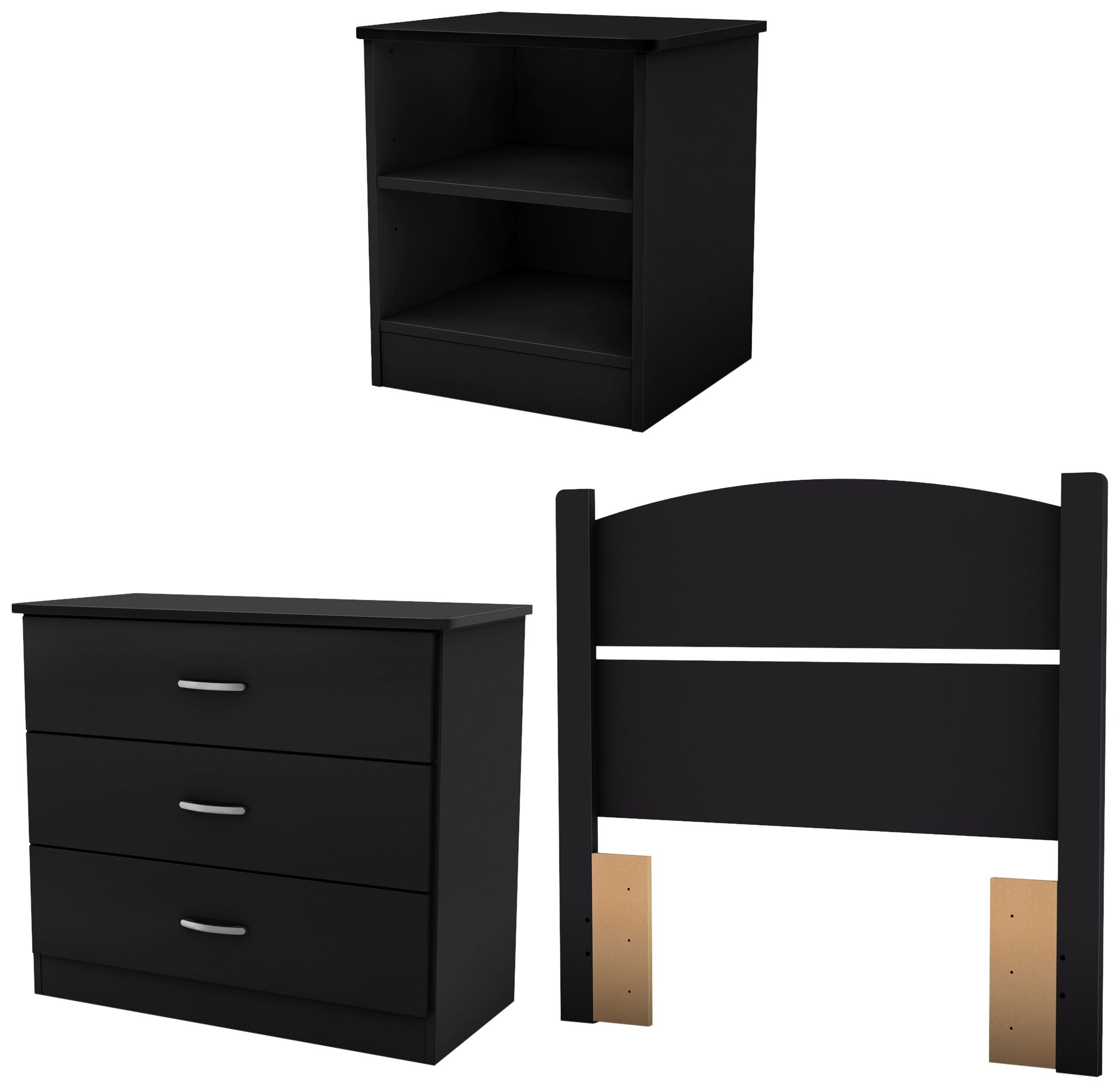 South Shore 3070223 Libra 3-Piece Bedroom Set with Dresser, Nightstand, and Twin Headboard, Pure Black