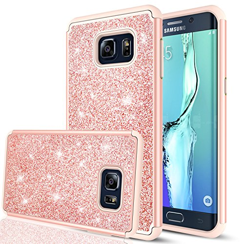 Price comparison product image Galaxy S6 Edge Plus Glitter Case, LeYi Cute Girls Women Bling Cute Design [PC Silicone Leather] Dual Layer Heavy Duty Scratch-proof Protective Phone Case for Samsung Galaxy S6 Edge Plus + TP Rose Gold