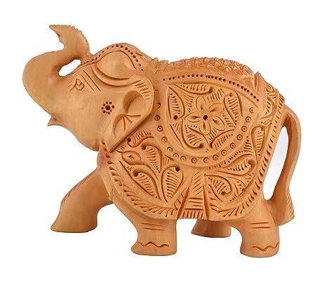 Amazon.com: Elefante - Figura decorativa de madera, diseño ...
