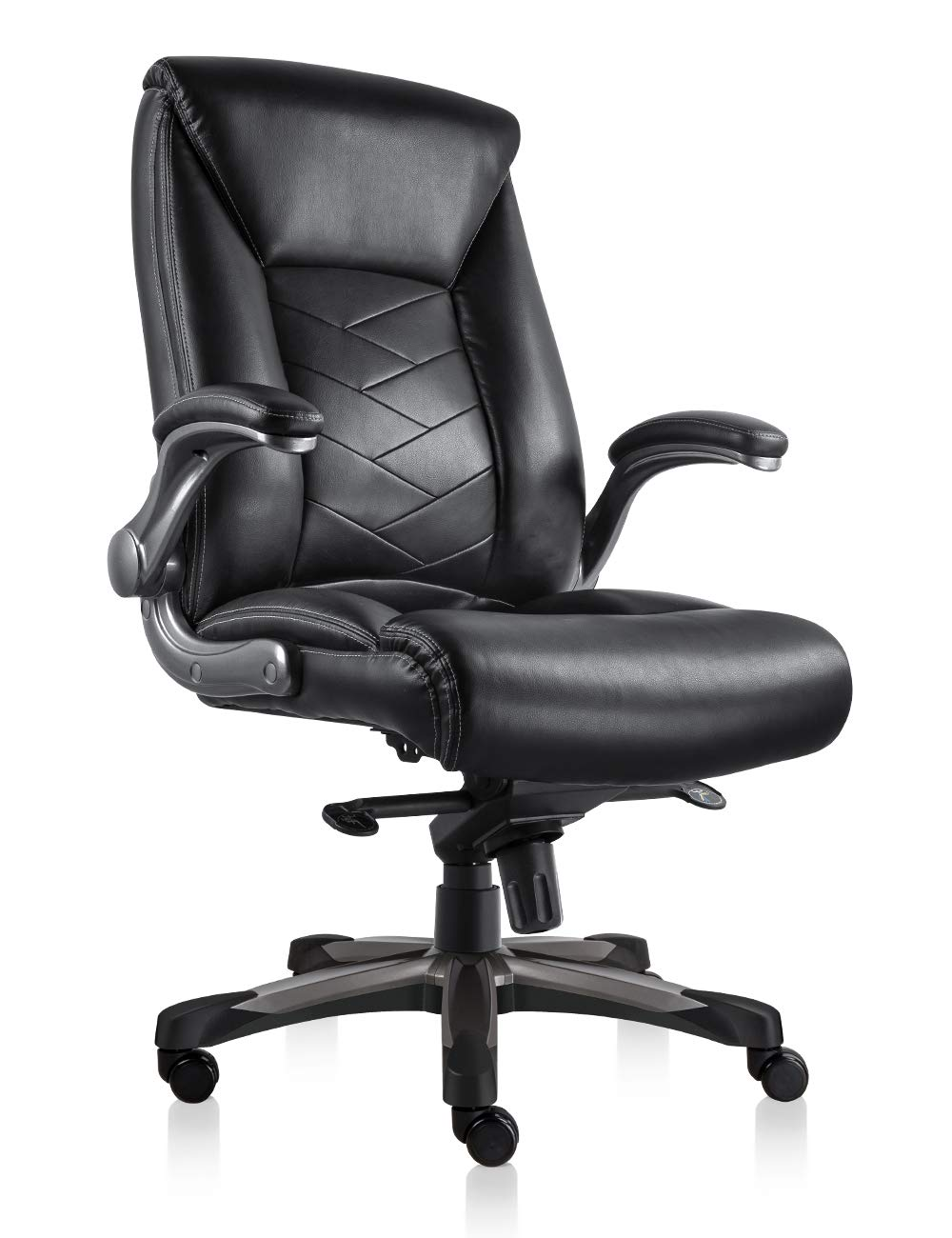 ORVEAY Heavy Duty Executive Office Chair High Back Swivel Office Chair with Comfortable Flip up Armrest Bonded PU Leather Home Office Chair(Black) by ORVEAY