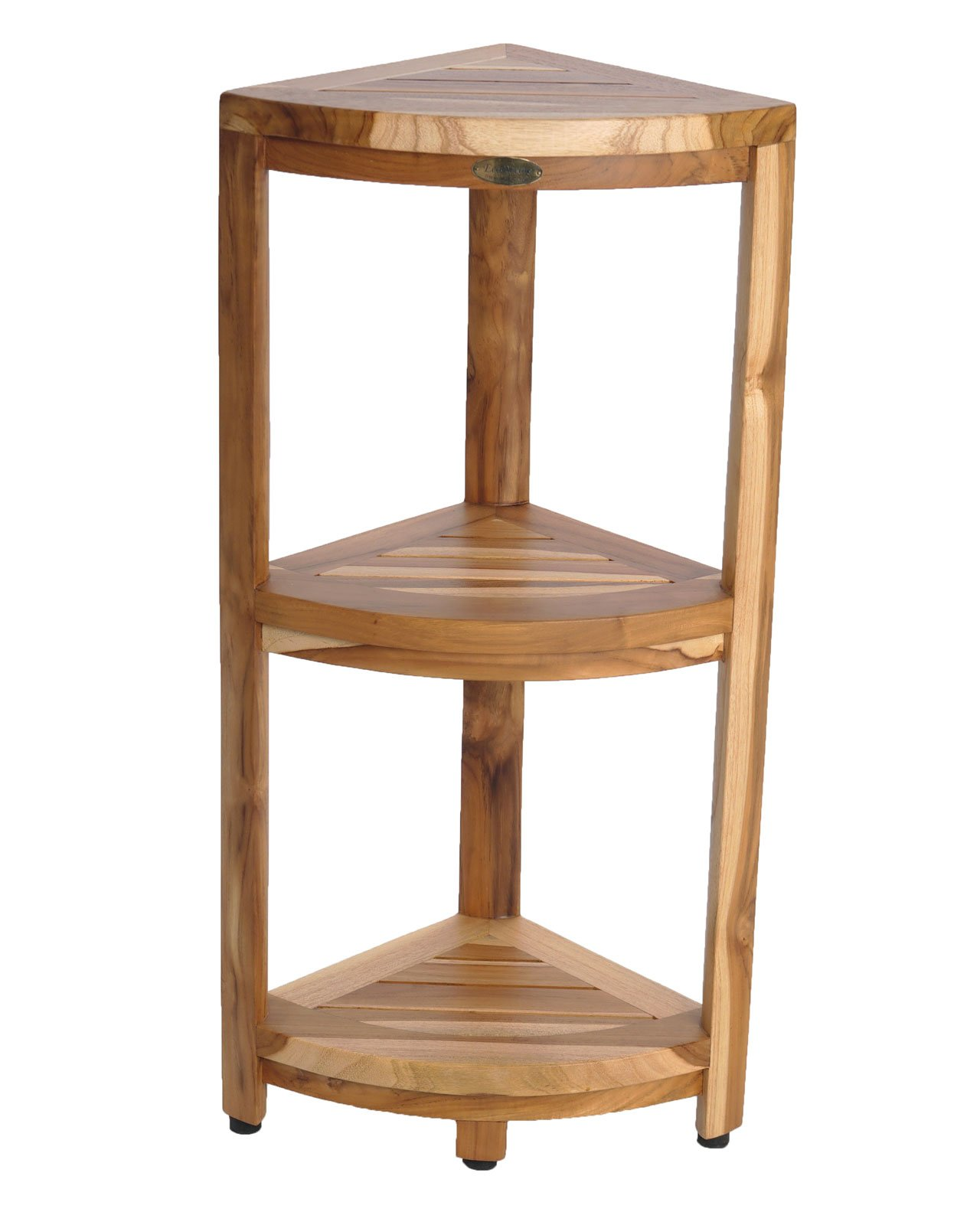 New- EcoDecors EarthyTeak™ FULLY ASSEMBLED 3-Tier Compact Teak Corner Shower Shelf- Shower Storage