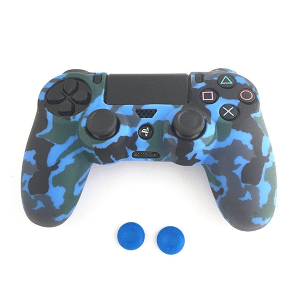 rawuinソフト迷彩シリコンカバー+ 2 Thumbstickキャップfor DualShock 4 ps4コントローラ ブルー B076MP4C2H ブルー